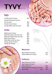 TYVY Nails Price List