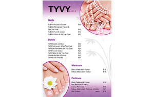 New TYVY nails price list