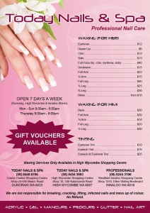 Today Nail and Spa Price List