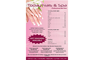 Today Nail A5 Pricelist