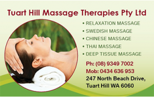 Tuart hill massage business cards