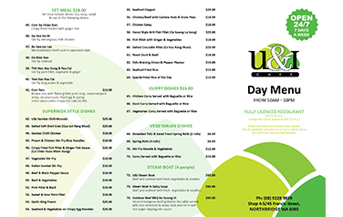 U&I A3 Day Menu