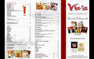 Vu's dessert & drink menu