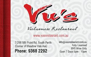 Vu's vietnamese restaurant business cards