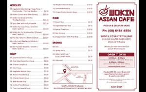Wokin asian cafe A4 menu