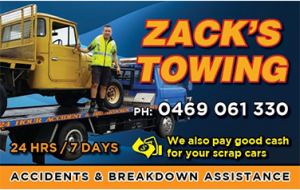 Zack's towing business cards