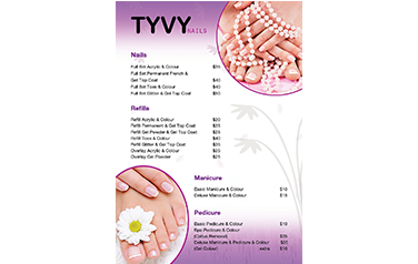 New TYVY Nails A5 Pricelist