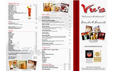 Vu's A3 Dessert & Drink Menu